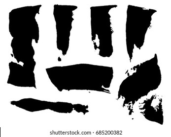 Black Scanned Palette Knife Paint Strokes and Splats