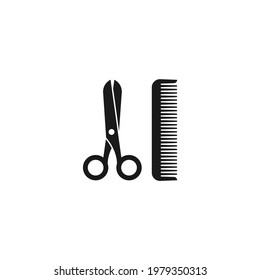 Black scissors and hair comb.  Barber tools. Barbershop logo. Beauty saloon. Vector illustration isolated on white.