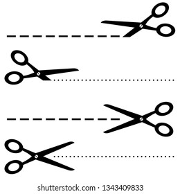 Black scissors icon illustration