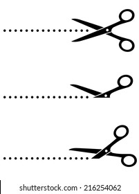 black scissors icon set with cut line on white background