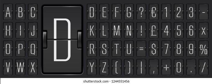 Black scoreboard abc font with numbers for showing flight departure, destination or arrival information. Airport terminal mechanical flip board alphabet to display timetable vector illustration.