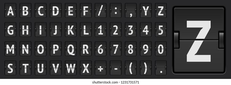 Black scoreboard alphabet regular font with numbers for flight departure, destination or arrival information vector illustration.