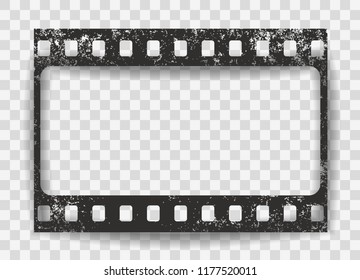 Black scratched grunge film strip with shadow on squared background. Vector.
