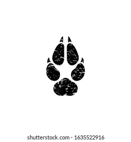 black scratched wolf trace logo. Vector grunge flat illustration. wild beast paw footprint, footstep isolated on white