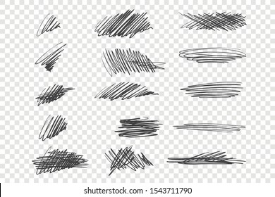 Black scribble vector illustrations set. Messy ink pen strokes, chaotic drawings pack. Various zigzag, curling and criss crossed lines isolated on transparent backdrop. Freehand scrawls collection