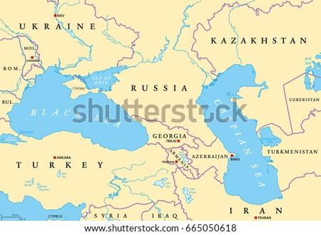 Georgia Eastern Europe Map.Black Sea Caspian Sea Region Political Stock Vector Royalty Free