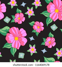 black seamless background design with pink hibiscus flowers and green leaves