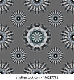 Black seamless background with round white floral pattern. Vector.
