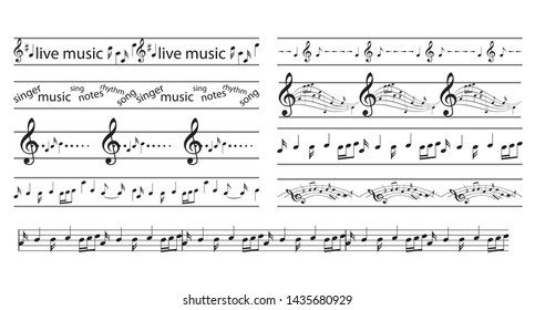 black seamless borders with music notes - vector musical frames