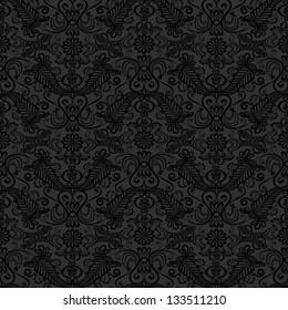 Black seamless lace pattern on gray background