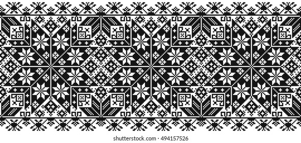 black seamless ornament in cross-stitch style. embroidered good like old handmade ethnic Ukraine pattern