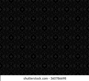 Black seamless poker background with dark grey damask pattern and cards symbols
