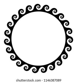 Black seamless spirals frame made of a running dog pattern. Seamless meander design. Waves shaped into repeated motif. Scroll pattern. Decorative border. Vitruvian wave or Vitruvian scroll. Vector.