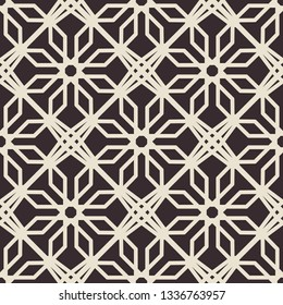 Black seamless texture with arabic geometric ornament. Monochrome vector pattern