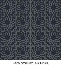 Фотообои Black seamless texture with arabic geometric ornament. Vector pattern