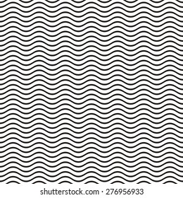 Black seamless wavy line pattern vector illustration