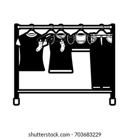 black sections silhouette of female clothes rack with t-shirts and pants on hangers vector illustration