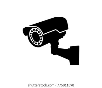 Black Security Surveillance CCTV Camera Watch Illustration Logo Silhouette