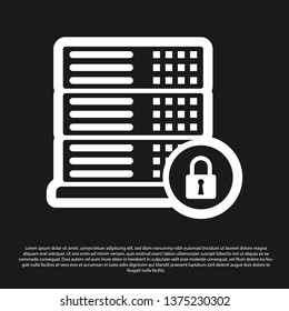 Black Server security with closed padlock icon isolated on black background. Security, safety, protection concept. Vector Illustration
