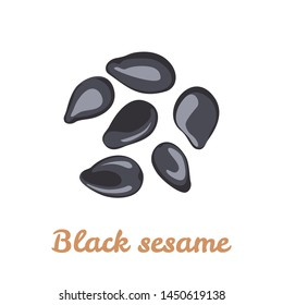 Black sesame icon isolated on white background. Vector illustration of heap of seeds in cartoon flat simple style.