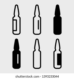 Black set of ampoules icons, different design. Vector illustration