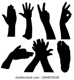 Black set silhouette of hands on white background.