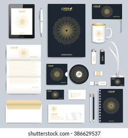 Black set of vector corporate identity template. Modern business stationery mock-up. Branding design with round golden form connected lines and dots . Medicine, science, technology concept.
