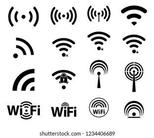 Black set wi-fi icons. wifi signal strength
