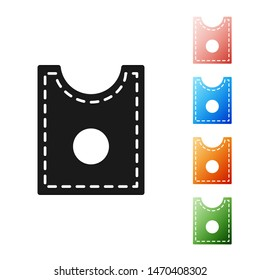 Black Sewing Pattern icon isolated on white background. Markings for sewing. Set icons colorful. Vector Illustration