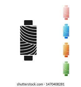 Black Sewing thread on spool icon isolated on white background. Yarn spool. Thread bobbin. Set icons colorful. Vector Illustration