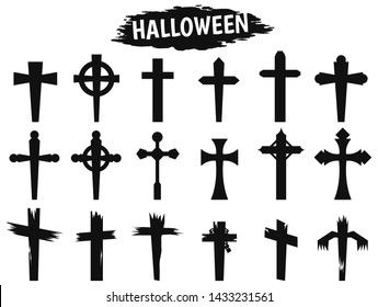 Black shadow cross icon during the Halloween season.