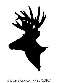 black shape of a big buck head with a nice rack of antlers in a trophy deer silhouette vector