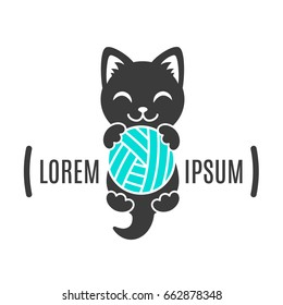 Black shape of kitten with ball in paws. Cat logo. Simple animal logotype for shop and vet clinic. Handmade company
