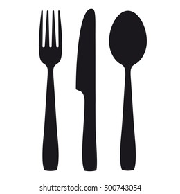 Black shapes of knife, spoon and fork on the white background. Eps 10 vector file.