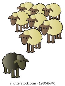 A black sheep being shunned from the rest of the flock for being different.