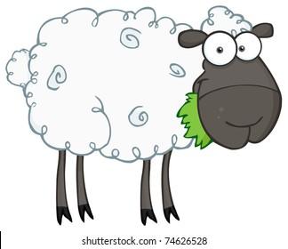 Black Sheep Cartoon Character Eating A Grass