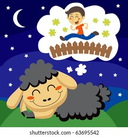 Black sheep counting children jumping over a fence to sleep