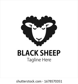 Black Sheep Cute Vector logo. used for the black sheep breeding logo.