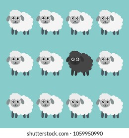 Black sheep in the flock. VECTOR