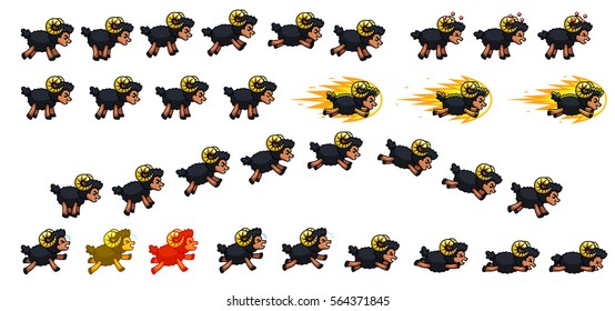 Black Sheep Game Sprites   Suitable for side scrolling, action, adventure, and endless runner game.