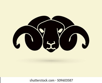Black sheep head with big horn graphic vector.