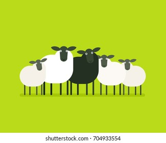 Black sheep in the herd. Vector illustration