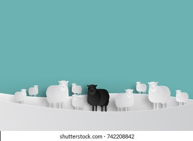 Black Sheep in White Sheep Group in Paper cut Style