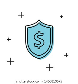 Black Shield with dollar symbol icon isolated on white background. Security shield protection. Money security concept.  Vector Illustration