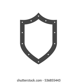 Black shield in flat design. Shield icon isolated. Vector illustration.