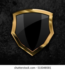 Black shield with gold border, eps10