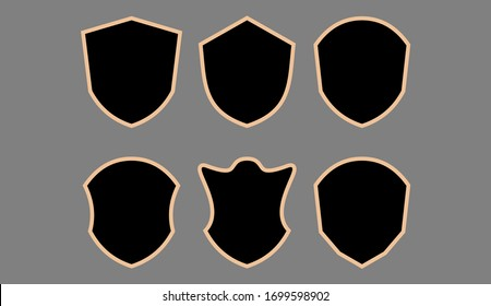 Black shield icon set on white background with outline color