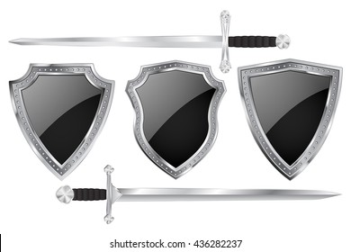 Black shield set with metal frame and swords. Vector illustration isolated on white background