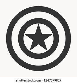 Black shield with star isolated on white background. Captain America Shield. Shield logo. Shield icon. Web design. Vector illustration