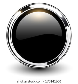 Black shiny button with metallic elements, vector design.